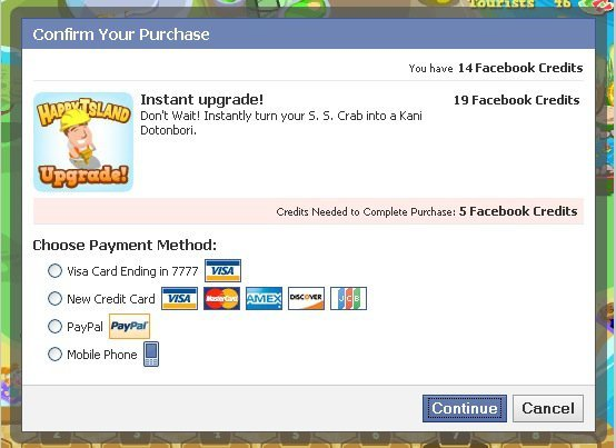 Example of an in-app purchase